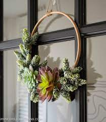 Succulent wreaths on wall
